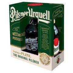 Pilsner Urquell dárkové balení, lahev 2x0,5l + džbánek 1l