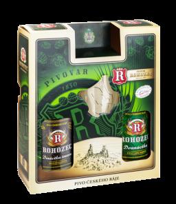 Rohozec 12° Premium + 13° Tmavé + sklenice, dárkové balení 2x0,5l